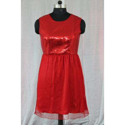 Round Neck Sleeveless Plane Cotton Black And Red Color Sequence Dress 1