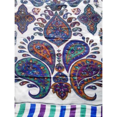 White Designer Printed Shawl