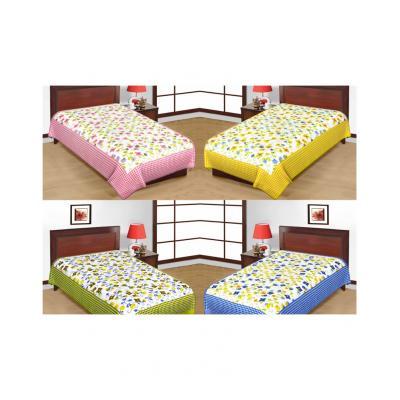 Saganeri and Jaipuri Printed Cotton Single Bedsheets Combo(No Pillow Cover)