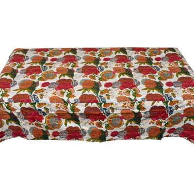 White Flower Printed  Single Bed Cover