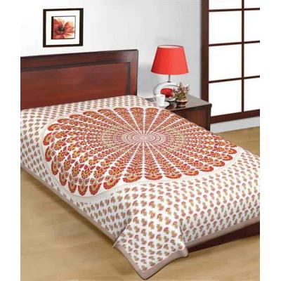 Saganeri & Jaipuri Printed Cotton Single Bedsheets 3