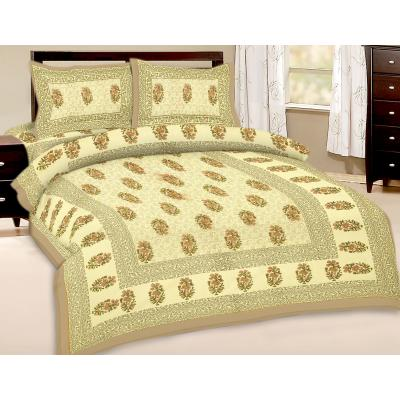 Booti Printed Double Bed Sheet With 2 Pillow Cover