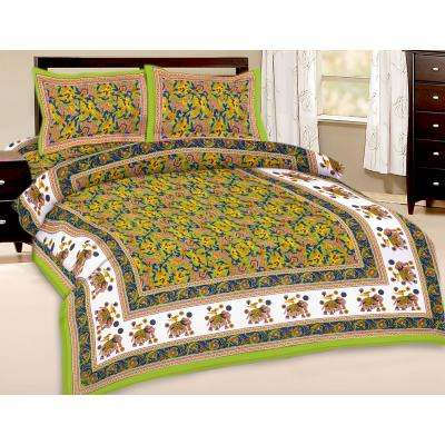 Booti Printed Double Bed Sheet With 2 Pillow Cover 4