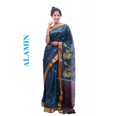 Cotton Light Navy Saree - ALMN