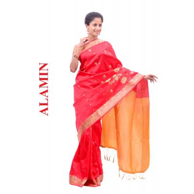 Silk Bright Orange Saree - ALMN