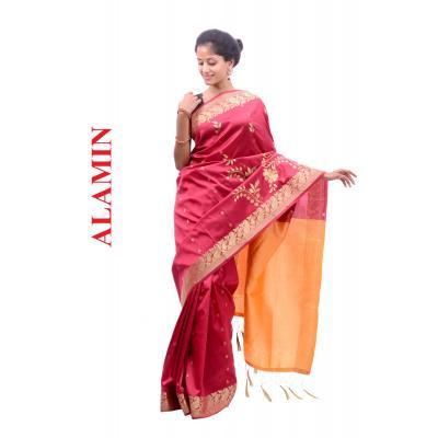 Silk Bright Red Saree - ALMN