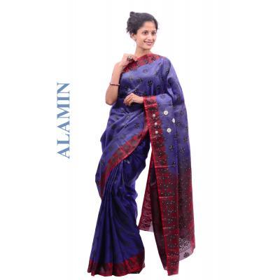 Silk Royal Blue Saree - ALMN