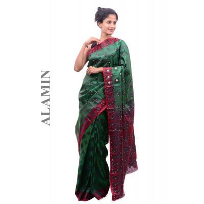 Silk Jade Green Saree - ALMN