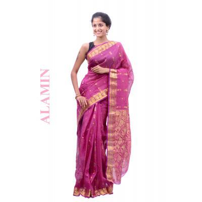 Silk Magenta Saree - ALMN