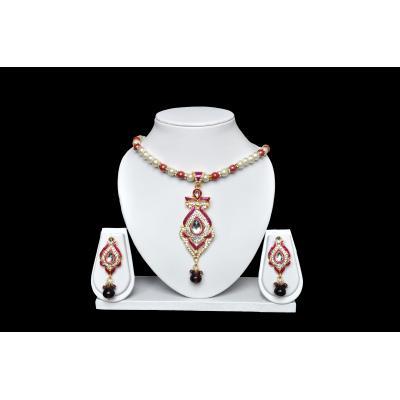 Magenta Pendant Necklace Set(Imitation)