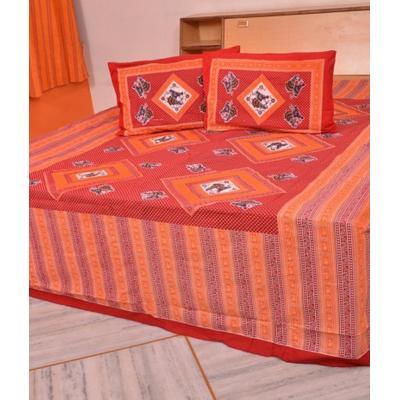 Sanganeri Jaipuri Rajasthani Printed Double Bedsheet THH-12