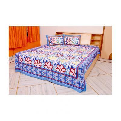 Sanganeri Jaipuri Rajasthani Printed Double Bedsheet THH-18