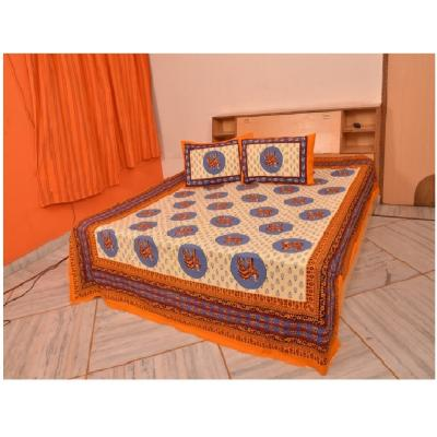 Sanganeri Jaipuri Rajasthani Printed Double Bedsheet THH-23