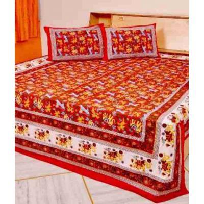 Sanganeri Jaipuri Rajasthani Printed Double Bedsheet THH-86