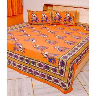 Sanganeri Jaipuri Rajasthani Printed Double Bedsheet THH-87
