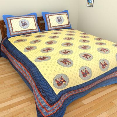 Sanganeri Jaipuri Rajasthani Printed Double Bedsheet THH-93
