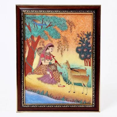 Meera Playing Sitar n Forest Gemstone Painting