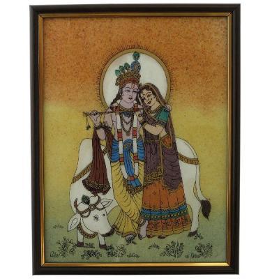 Divine Lovers Radha Krishna Gemstone Painting DHC138
