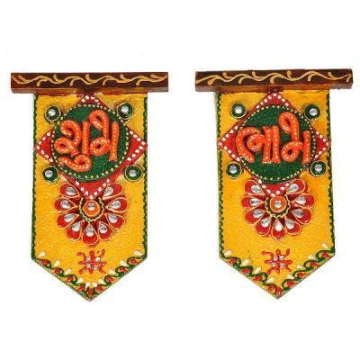 Wooden Crafted Unique Shubh Labh Door Hangings