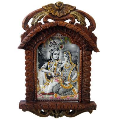 Radha Krishna Photo Frame Wooden Jharokha Gift