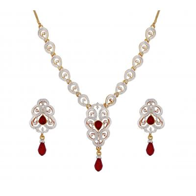 Red Ruby Imperial Necklace Set in Austrian Diamonds with 22K Gold Two Tone Plated for Women by Sempr