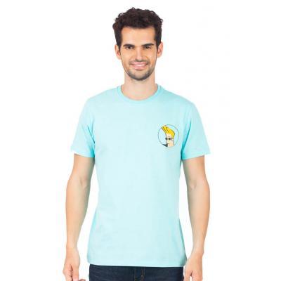 Planet Superheroes - Johnny Bravo - On Back Light Blue T-Shirt