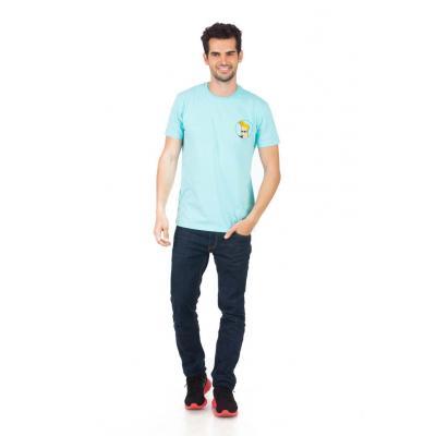 Planet Superheroes - Johnny Bravo - On Back Light Blue T-Shirt 1