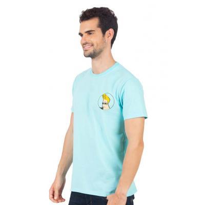 Planet Superheroes - Johnny Bravo - On Back Light Blue T-Shirt 2