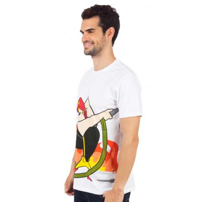 Planet Superheroes - Johnny Bravo - The Fire Fighter White T-Shirt 2