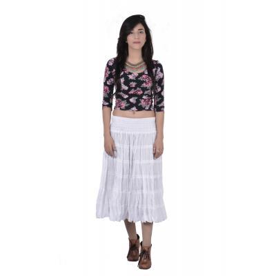 Uttam  Cotton Plain White Color Tyre Skirt