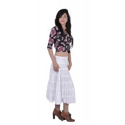 Uttam  Cotton Plain White Color Tyre Skirt 1