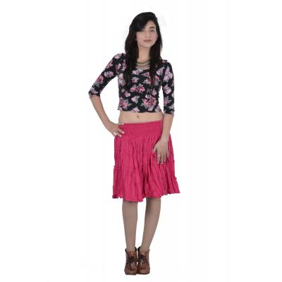 Uttam Cotton Plain Pink  Color  Short Tyre Skirt