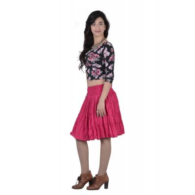 Uttam Cotton Plain Pink  Color  Short Tyre Skirt 1