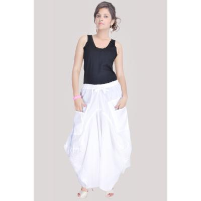 Uttam Cotton Plain White Color Long Skirt