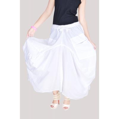 Uttam Cotton Plain White Color Long Skirt 1