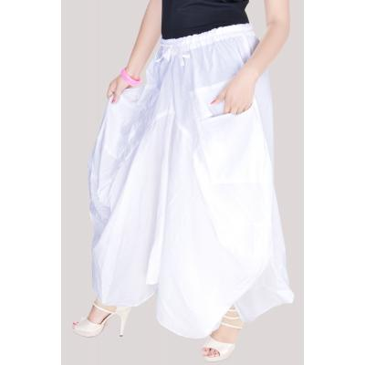 Uttam Cotton Plain White Color Long Skirt 2