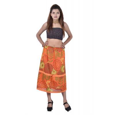 Uttam Cotton Printed Orange Color Long Skirt
