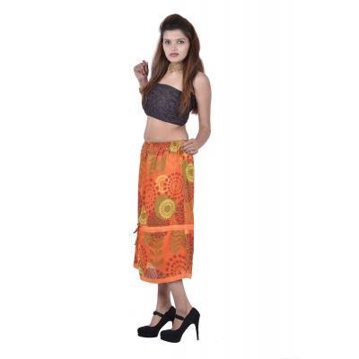 Uttam Cotton Printed Orange Color Long Skirt    1