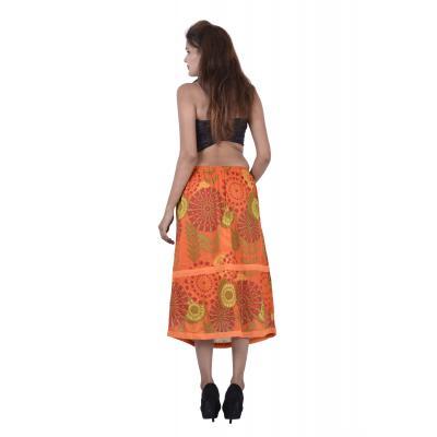 Uttam Cotton Printed Orange Color Long Skirt    2