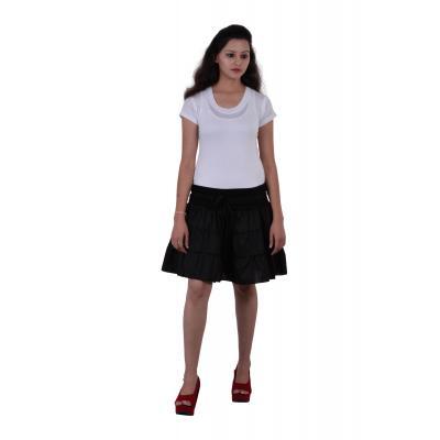 Uttam Cotton Plain Black Color Short Skirt