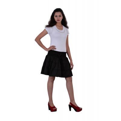 Uttam Cotton Plain Black Color Short Skirt 1