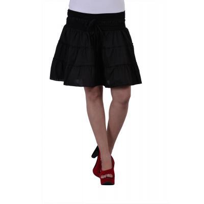 Uttam Cotton Plain Black Color Short Skirt 2