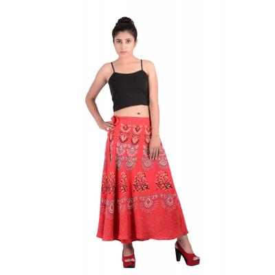 Uttam  Rayon Printed Red Color Long Skirt