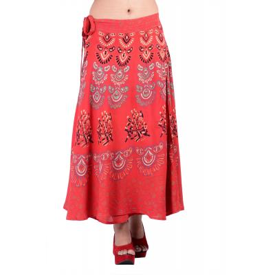 Uttam  Rayon Printed Red Color Long Skirt 1