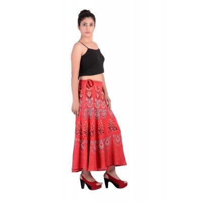Uttam  Rayon Printed Red Color Long Skirt 2