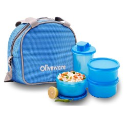 Oliveware Imperial Lunch Box - 3 Containers with Tumbler