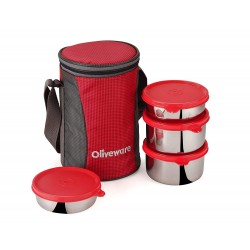 Oliveware Gusto Lunch Box | 4 Steel Containers with Insulated Bag
