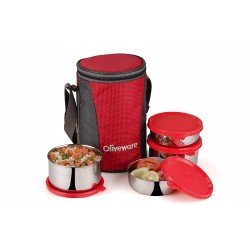 Oliveware Gusto Lunch Box | 4 Steel Containers with Insulated Bag 1