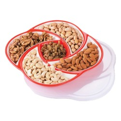 Oliveware Plastic Dry Fruit Candy Container - Red