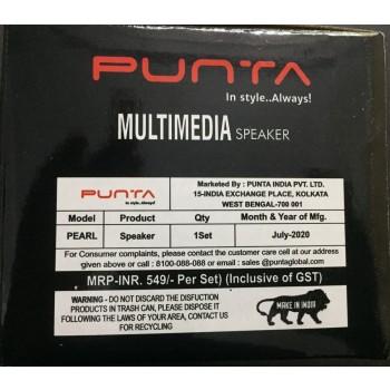 Punta Pearl 6 W Black & Orange 2.0 Channel Wired Desktop / Laptop Speaker 2